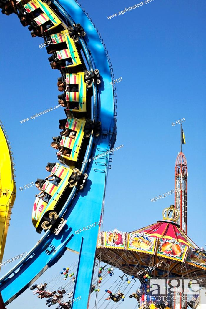 Stock Photo: Detail of rollercoaster at Oktoberfest, Munich, Germany.