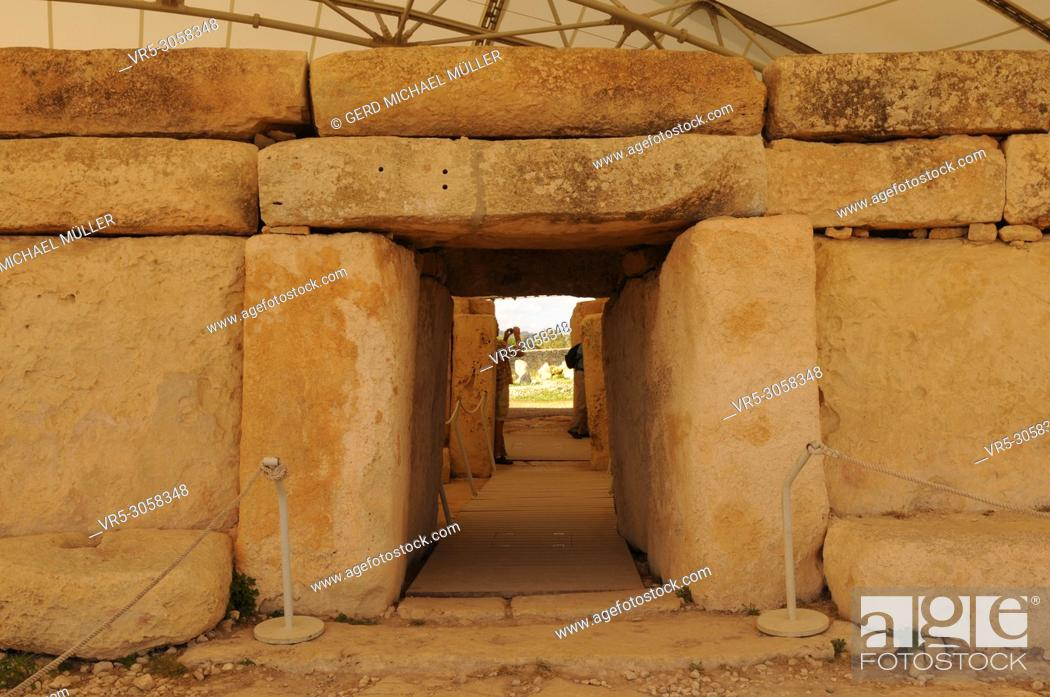 Stock Photo: World Heritage Hagar Qim: Malta the found 30 prehistoric temples at 18 different locations.