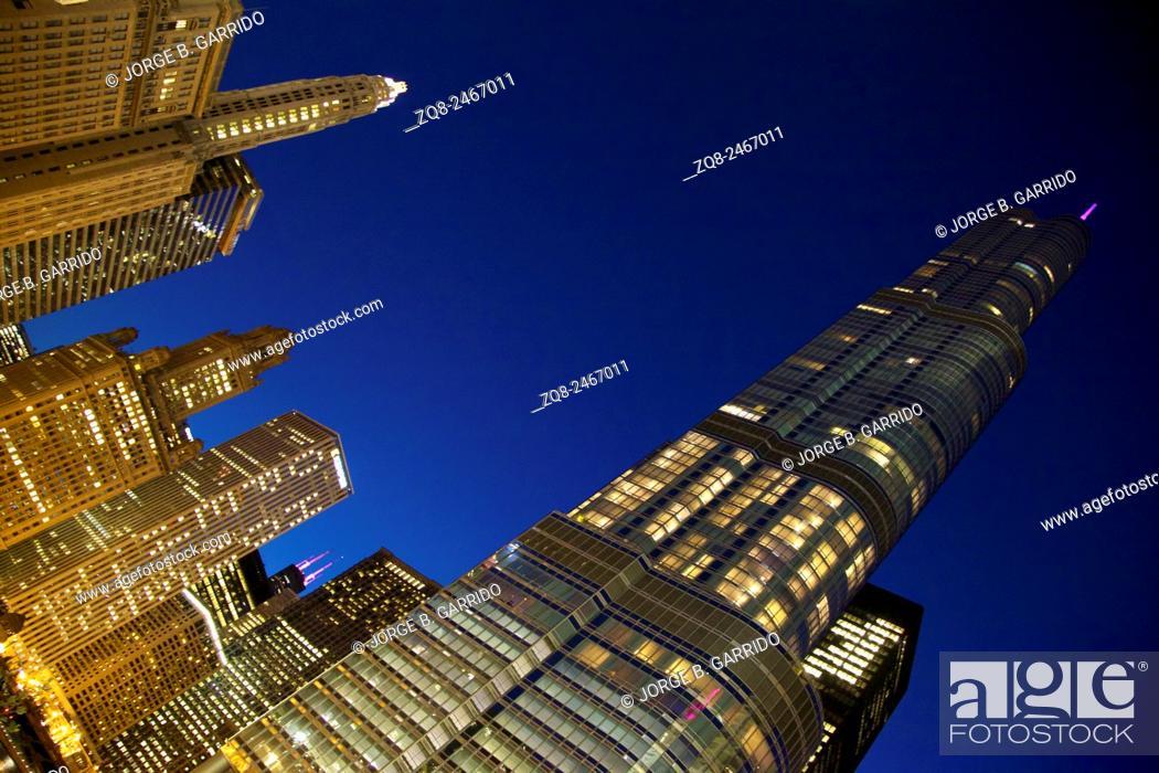 Stock Photo: Chicago Night, Trump International Hotel & Tower.