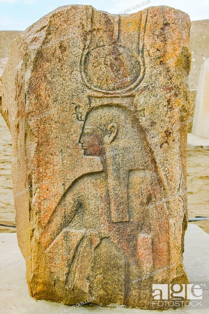 Stock Photo: Egypt, Nile Delta, Tanis, relief on the modern processional way to the temple : Queen or goddess, with an hathoric crown, cow horns and solar disk.
