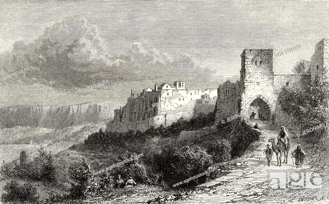 Imagen: Bethlehem city, Palestine, Israel. Old 19th century engraved illustration Travel to Jerusalem by Alphonse de Lamartine from El Mundo en La Mano 1879.