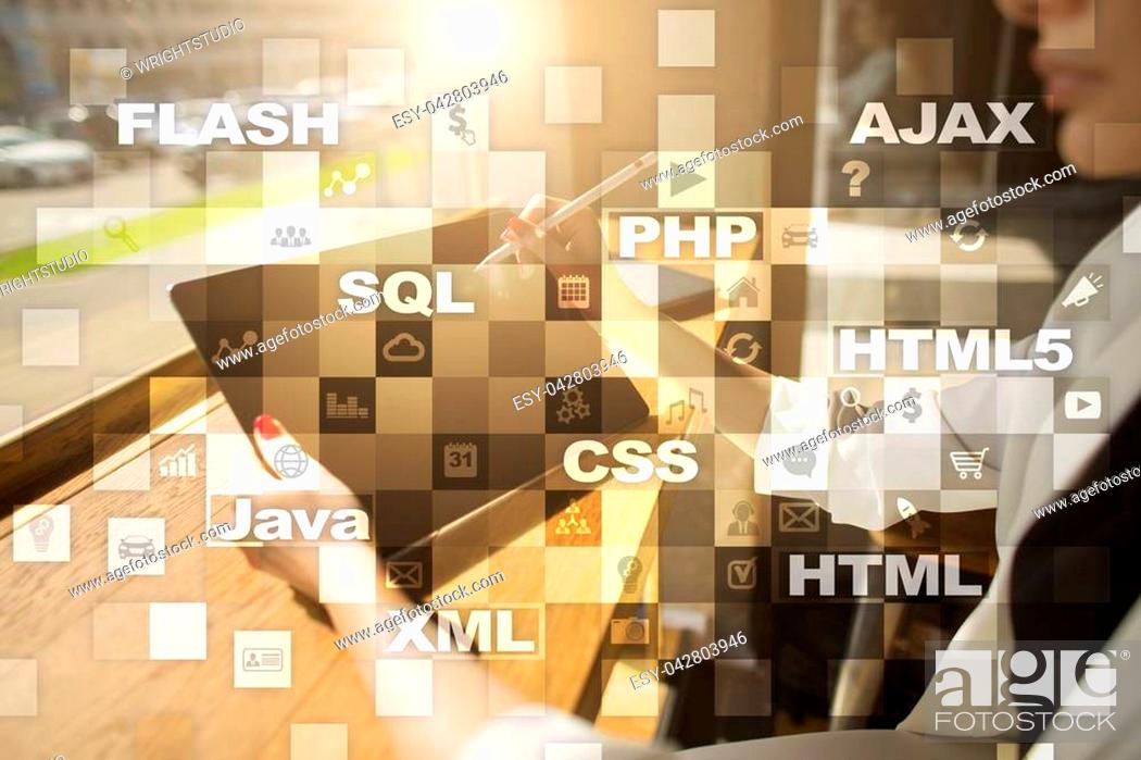Stock Photo: Web development. Programming. Internet and technology concept.