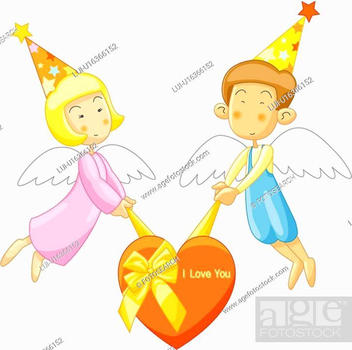 Stock Photo: people, heart, girl, boy, gift, event.
