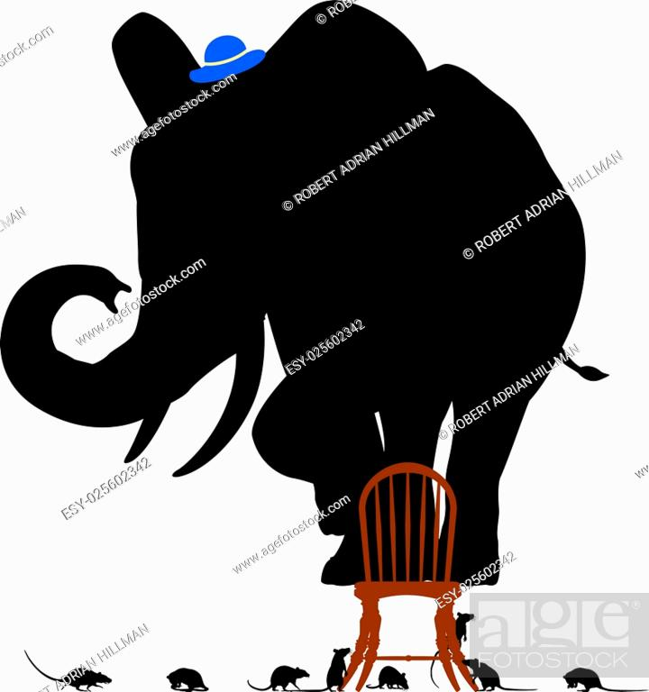 Stock Vector: Editable vector silhouettes of a frightened elephant standing on a chair surrounded by rats.
