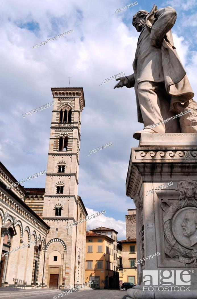 Stock Photo: Prato (Italy): the Cathedral of Santo Stefano and the monument of Giuseppe Mazzini.