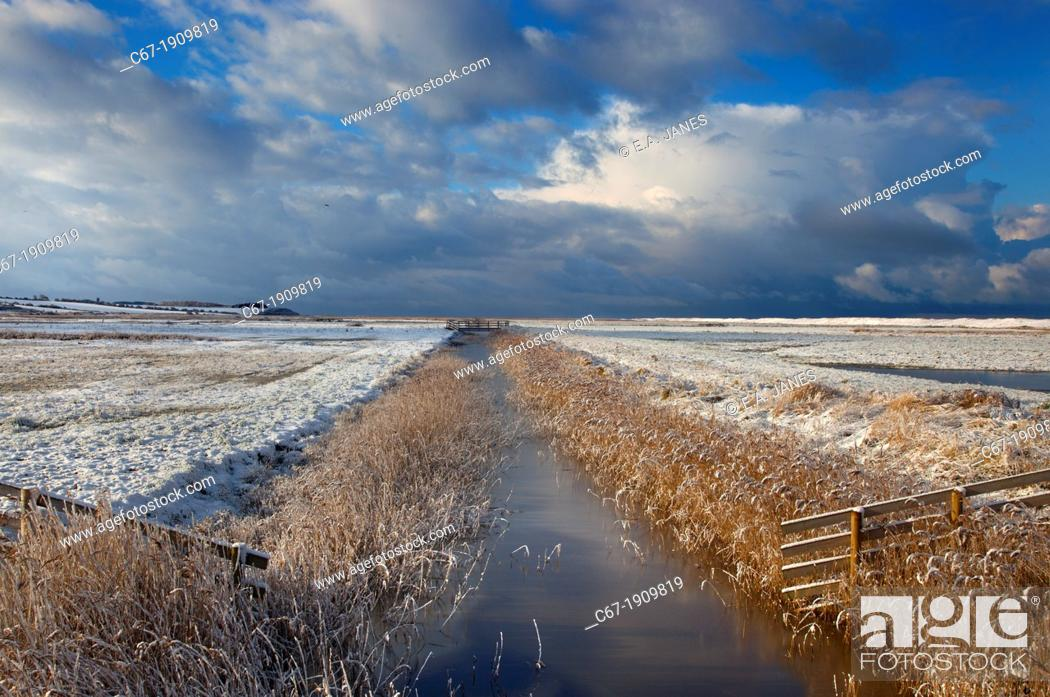 Stock Photo: Creek and grazing marshes Norfolk in Winter snow.