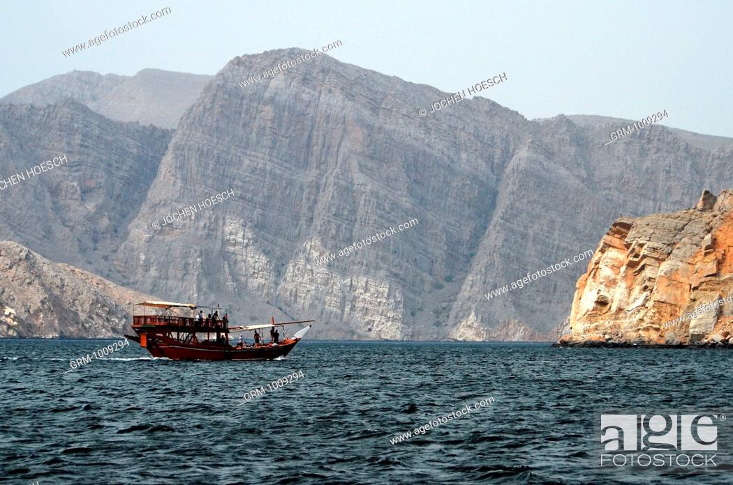Stock Photo: Dhow at Musandam peninsula, Oman.