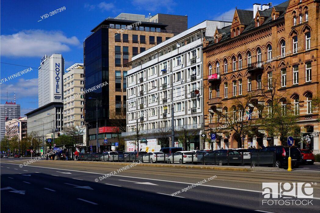 Stock Photo: Marszalkowska street, city center of Warsaw, Poland, Europe.