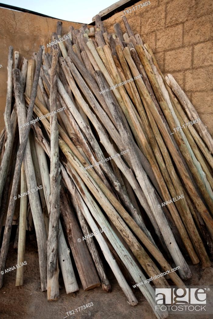 Stock Photo: number of stacked wooden sticks, Cordoba, Andalucia, Spain, Europe.
