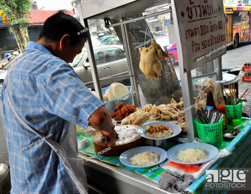 Stock Photo: street chef preparing chicken and rice thai style, street cuisine, chinatown, bangkok, thailand.