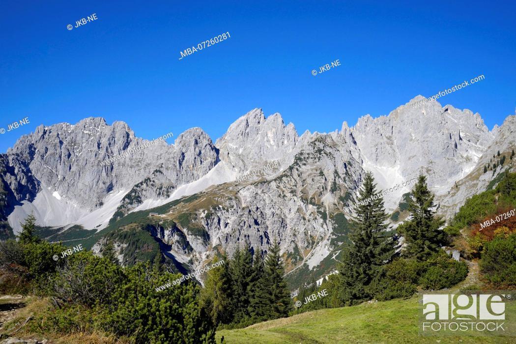 Stock Photo: Austria, Tyrol, Wilder Kaiser, Treffauer, Ellmauer Halt, Karlspitze, landscape.
