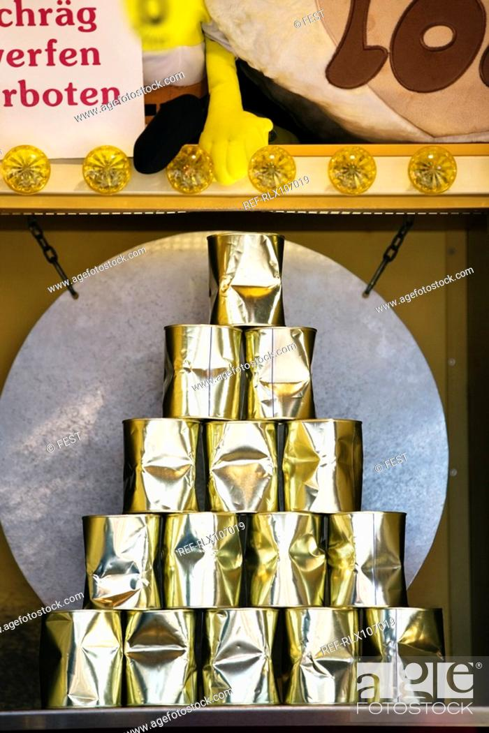 Stock Photo: Close-up of tin cans at stall, Oktoberfest, Munich, Germany.