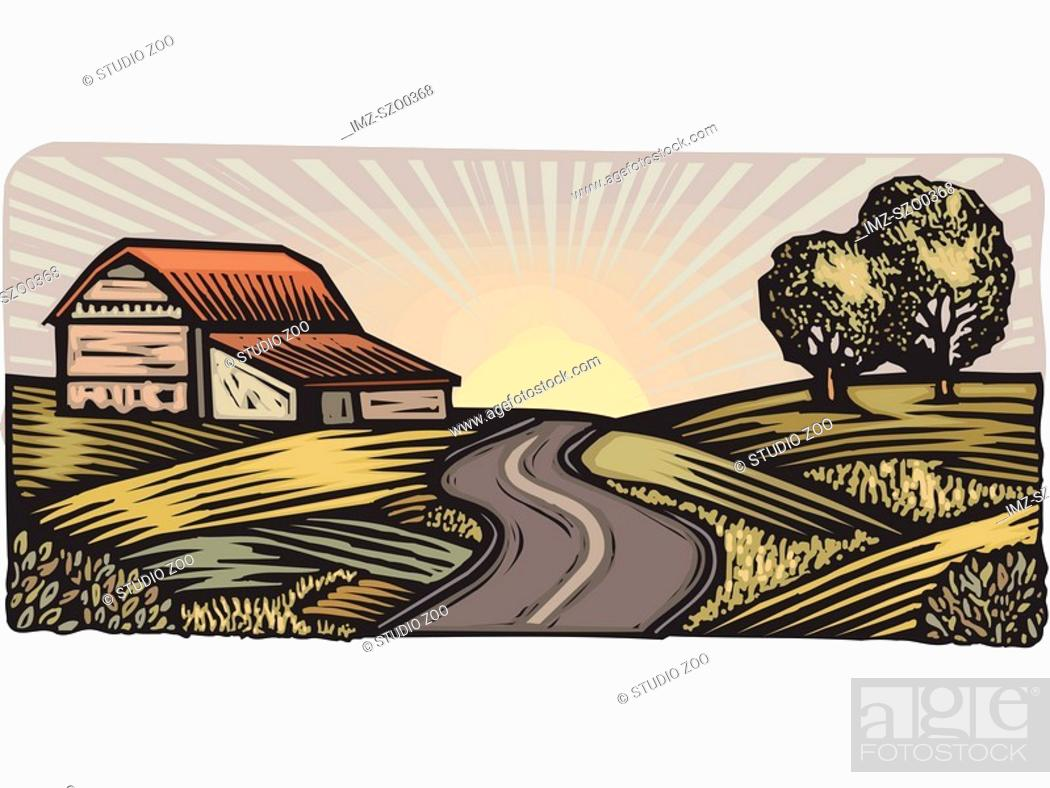 Stock Photo: Rural scene with winding road and barn.
