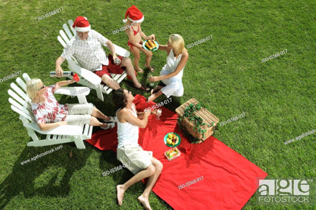 Stock Photo: Christmas picnic.