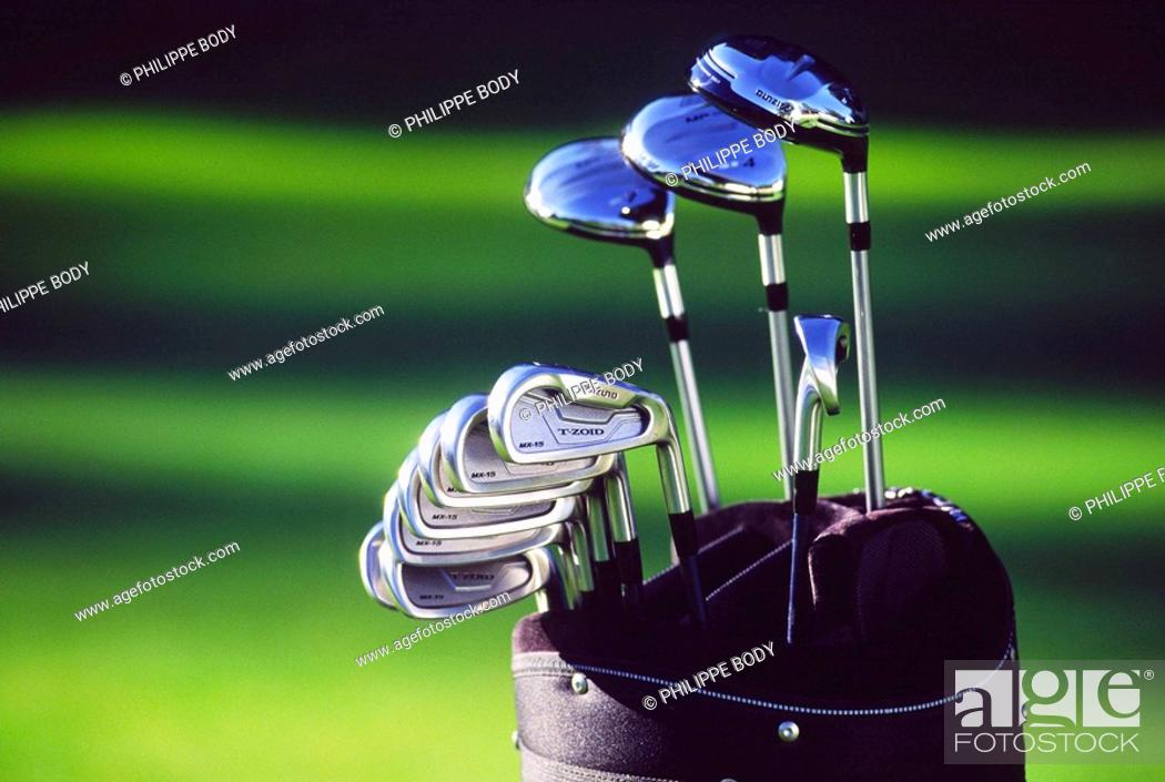 Stock Photo: Golf clubs.