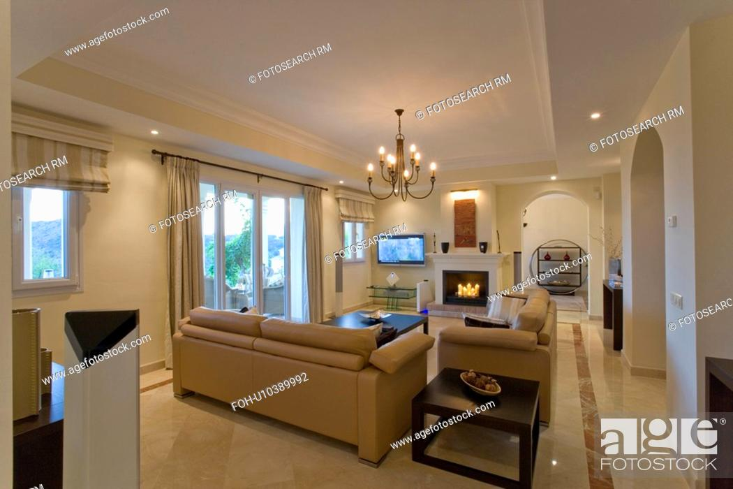 Beige Leather Sofa In Apartment Livingroom With Fireplace And Marble Floor Stock Photo Picture And Rights Managed Image Pic Foh U10389992 Agefotostock