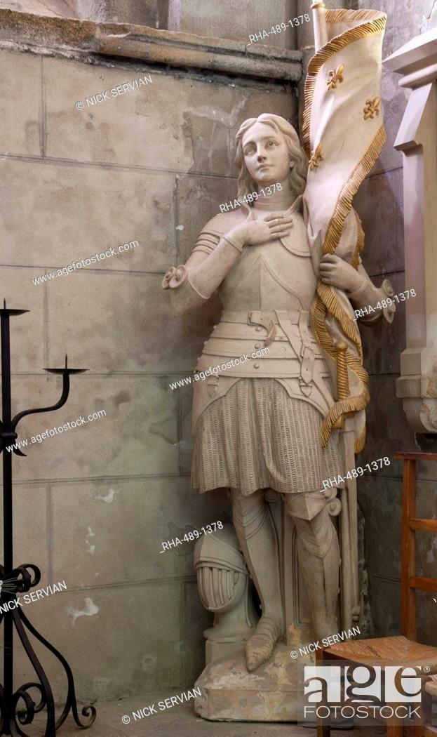 Stock Photo: Statue of St. Joan of Arc, Dol Cathedral, Dol de Bretagne, Brittany, France, Europe.