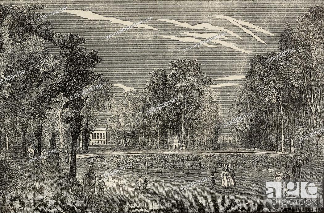 Stock Photo: View of Brussels Gardens, Belgium, illustration from Teatro universale, Raccolta enciclopedica e scenografica, No 545, December 21, 1844.
