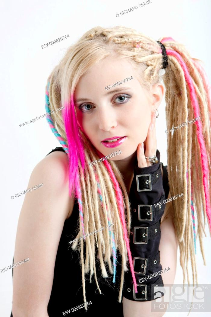 Stock Photo: portrait of young woman with dreadlocks.