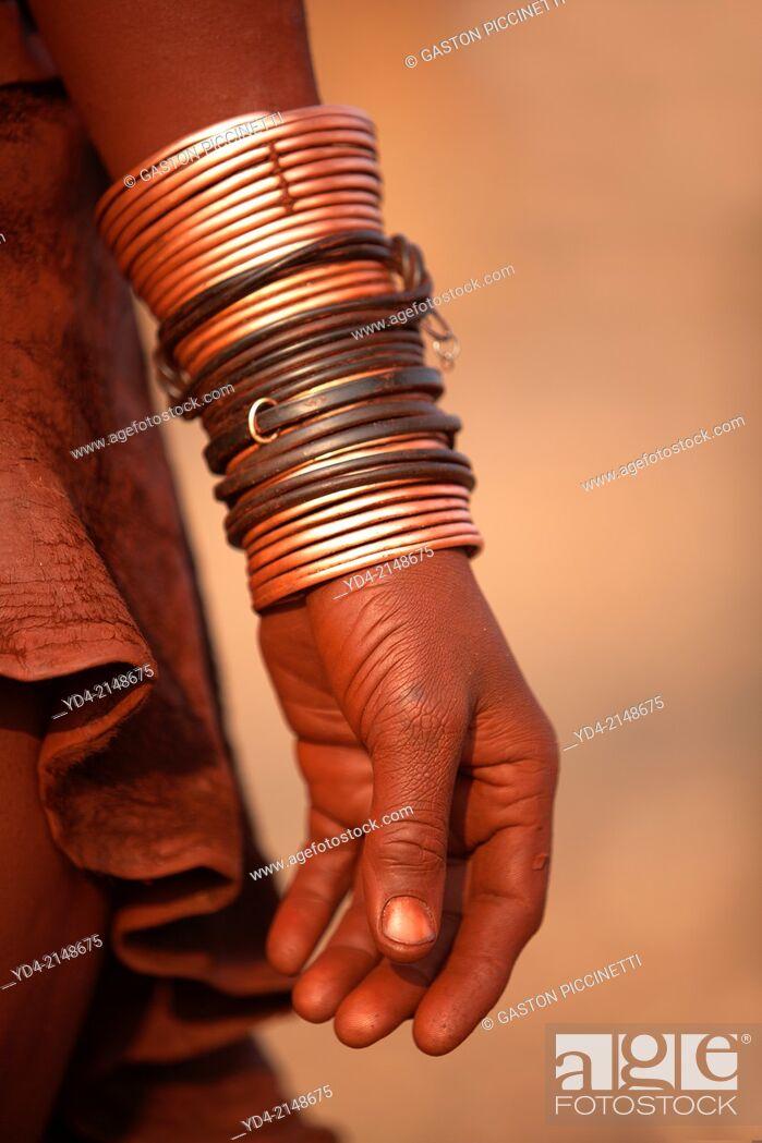 Stock Photo: Himba, with the typical ornaments, Kaokoland, Kunene region, Namibia.