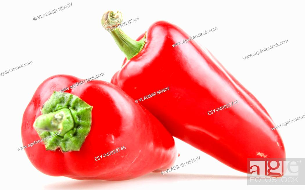 Stock Photo: red pepper isolated on white background.