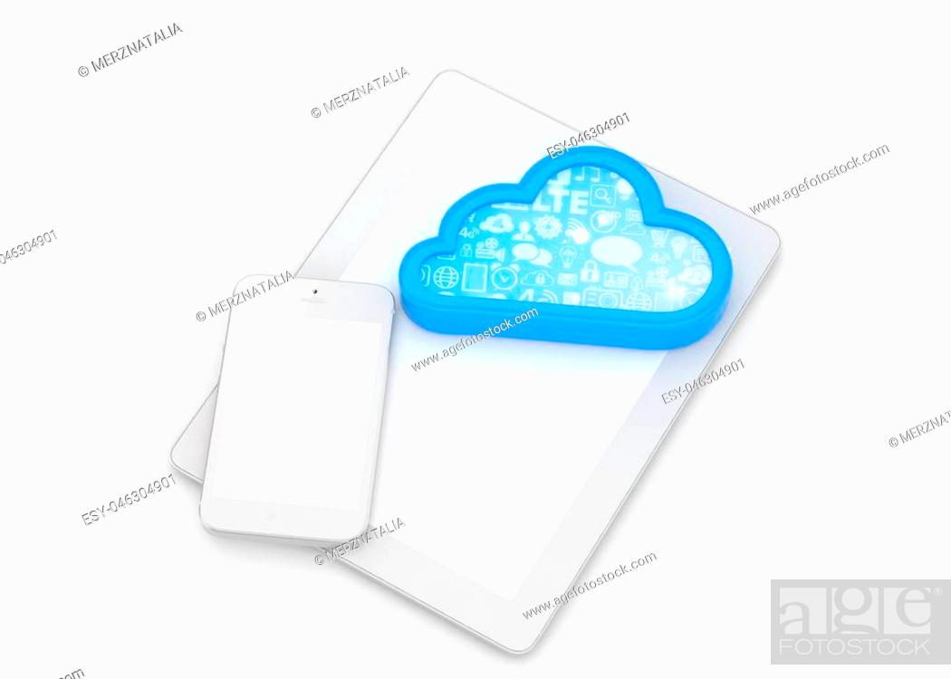 Stock Photo: tablet pc, smart phone and cloud. 3d rendering.