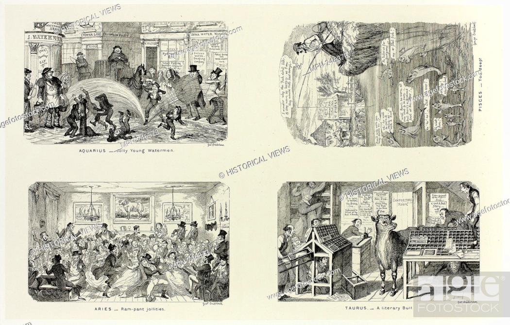 Stock Photo: Aquarius - Jolly Young Watermen from George Cruikshank's Steel Etchings to The Comic Almanacks: 1835-1853 (top left) - 1846, printed c.