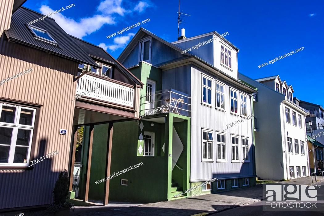 Stock Photo: Traditional street in Reykjavic, Iceland.