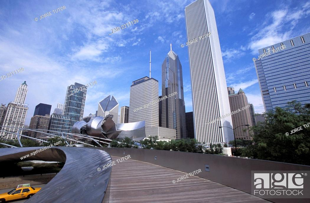 Stock Photo: The Millennium Park, BP bridge by Frank Gehry, Chicago, USA.
