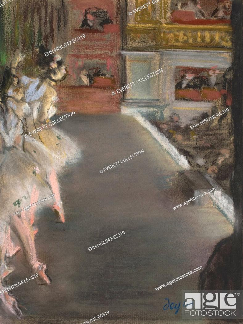 Stock Photo: Dancers at the Old Opera House, by Edgar Degas, 1877, French impressionist pastel drawing. Ballet dancers on Paris Opera House stage during a performance.