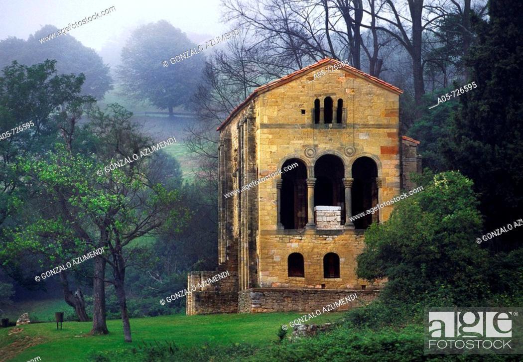 Stock Photo: Santa Maria del Naranco Asturian pre-Romanesque church, Oviedo. Asturias, Spain.