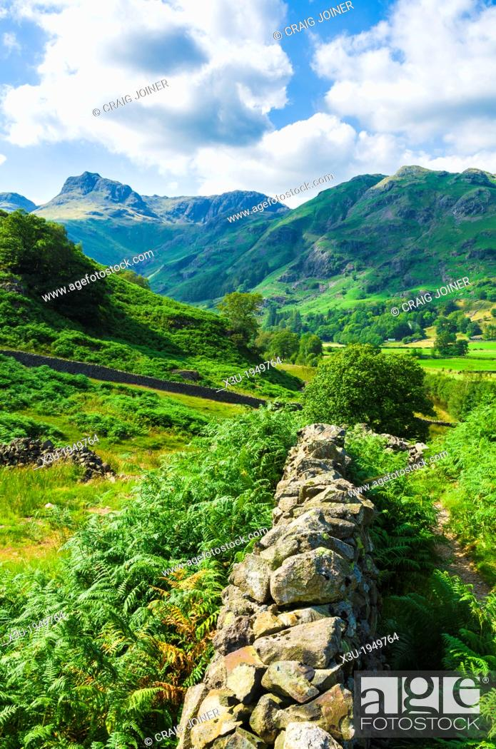 Stock Photo: Great Langdale Valley looking towards the Langdale Pikes in the English Lake District near Chapel Stile, Cumbria, England.