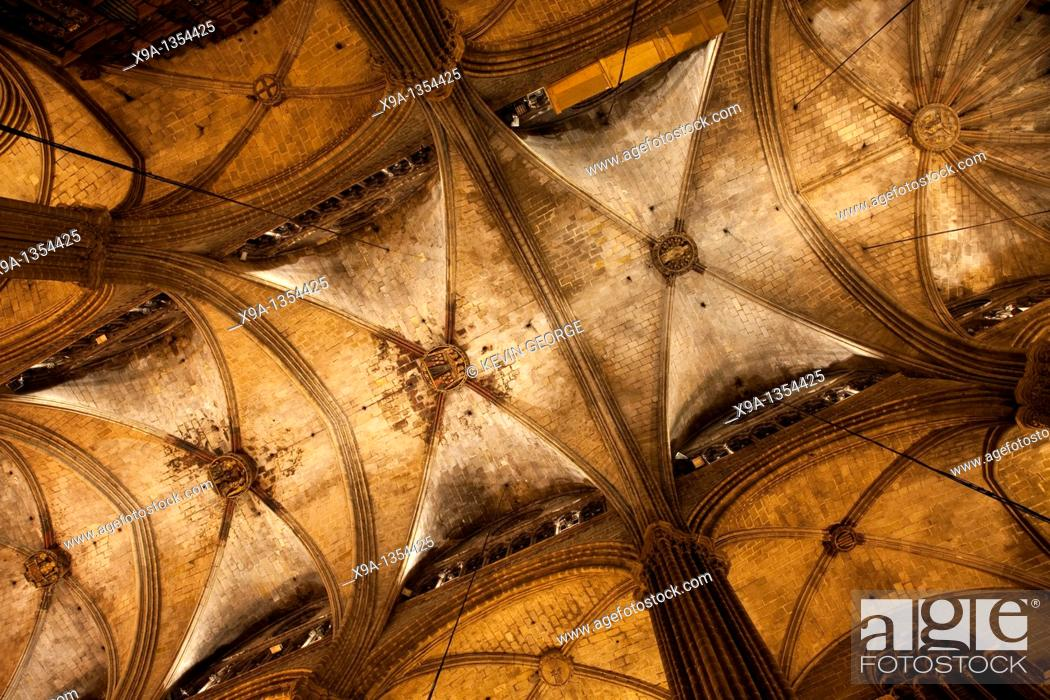 Stock Photo: The Ceiling of the Cathedral Church of Barcelona, Catalonia, Spain.
