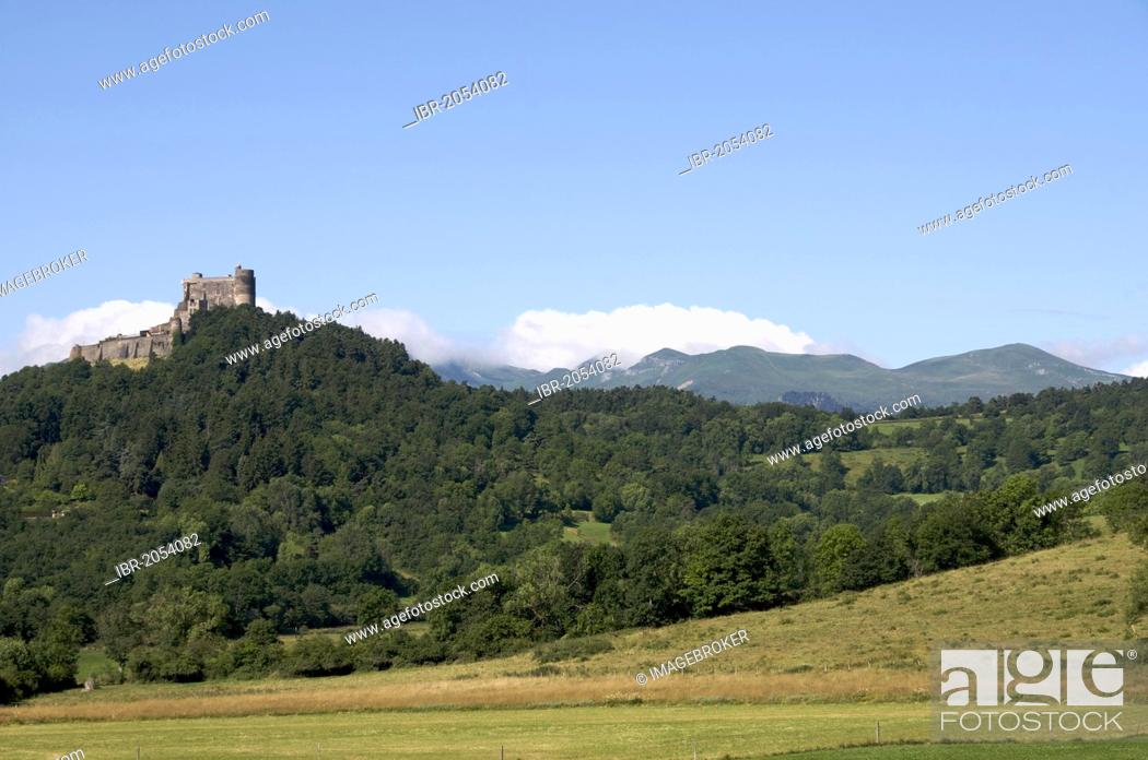 Stock Photo: Castle of Murol, Sancy massif at back, Auvergne, Puy-de-Dome, France, Europe.