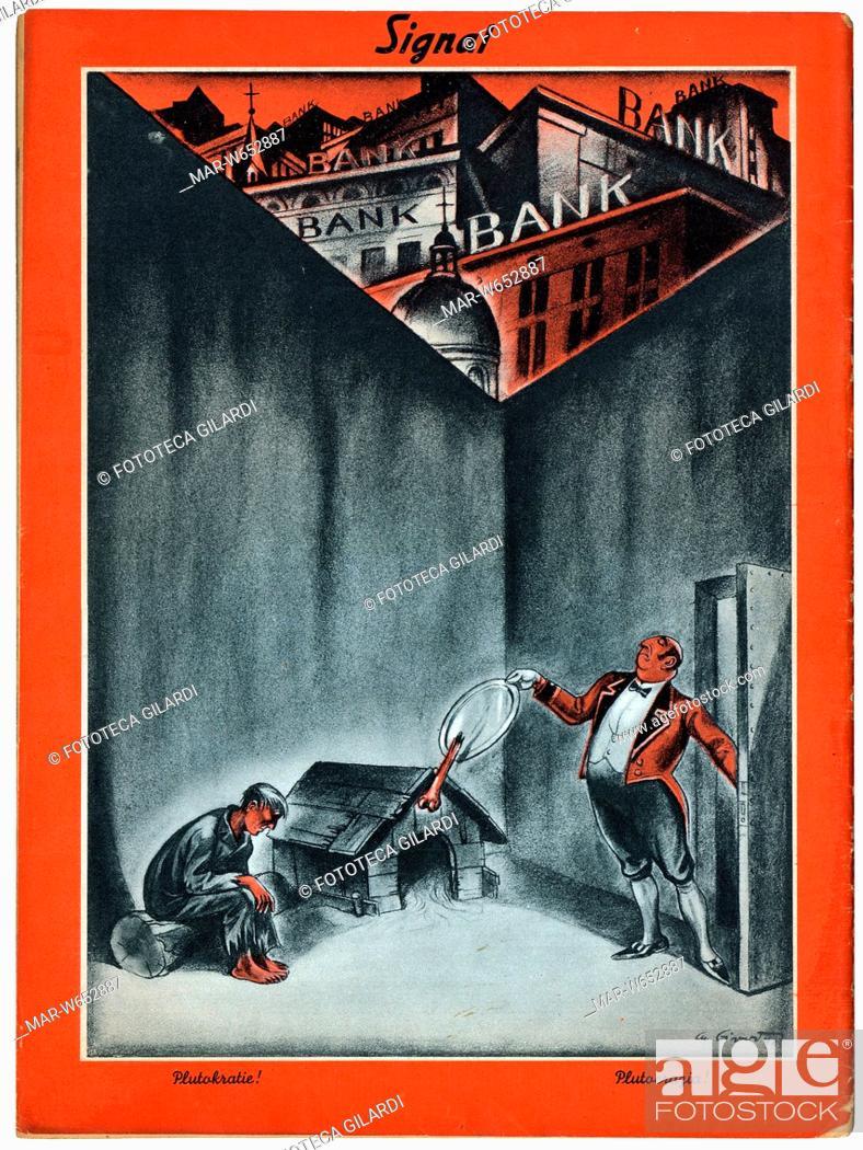 Stock Photo: SECONDA GUERRA MONDIALE Italia-Germania. Caricatura: -Plutocrazia!-. Un servitore in livrea rifila un pezzo di osso da un piatto d'argento ad un misero.