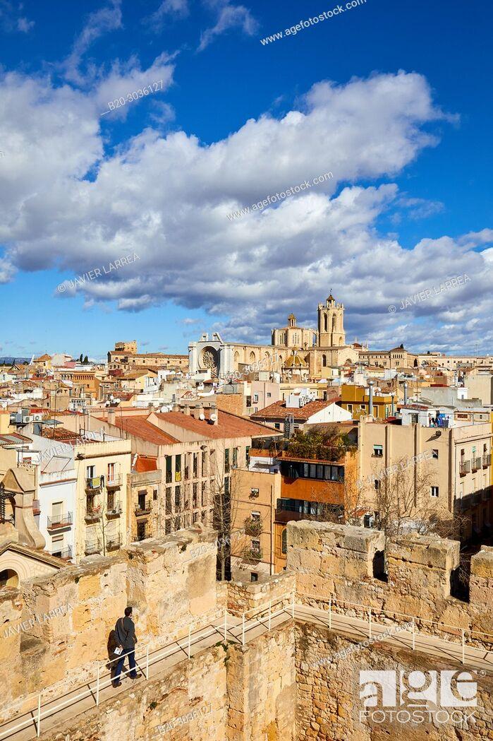 Stock Photo: Cathedral, Roman Praetorium, Plaça del Rei, Tarragona City, Catalonia, Spain, Europe.