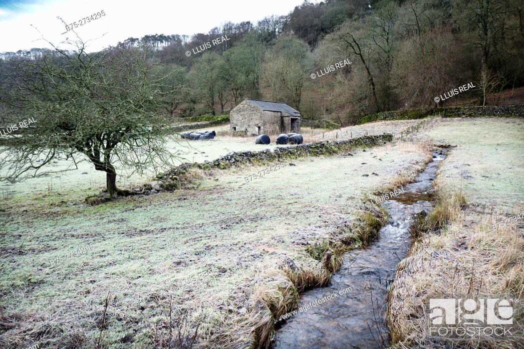 Stock Photo: Rural landscape with frost, a creek, barn, and trees. Buckden, Skipton, Norht Yorkshire, England.