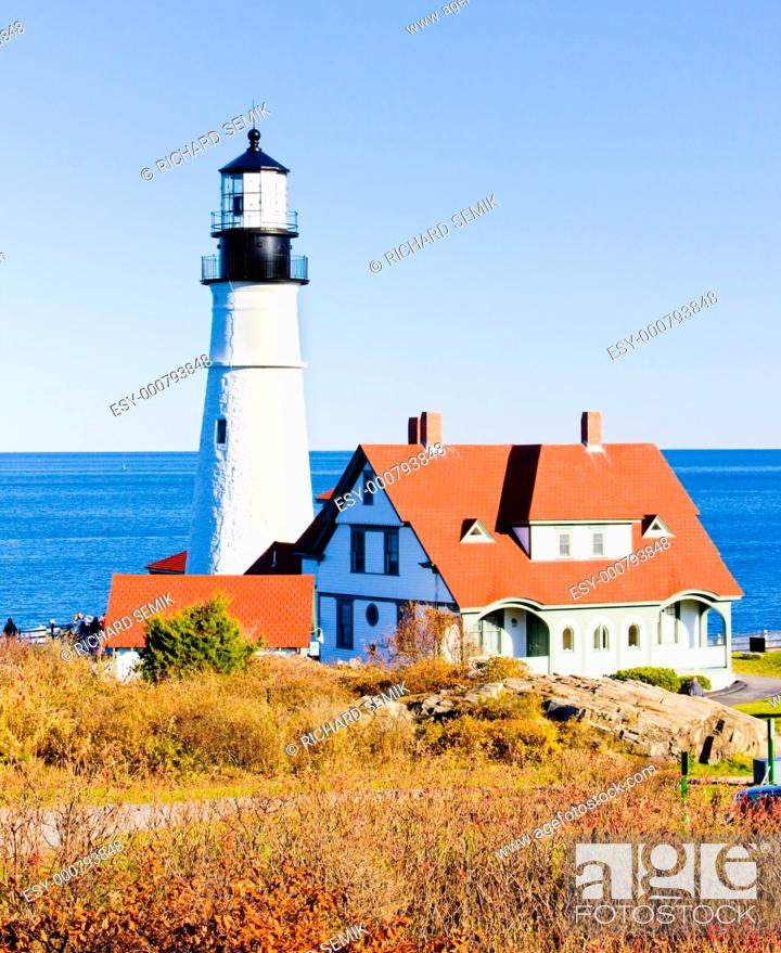 Stock Photo: Portland Head Lighthouse, Maine, USA.