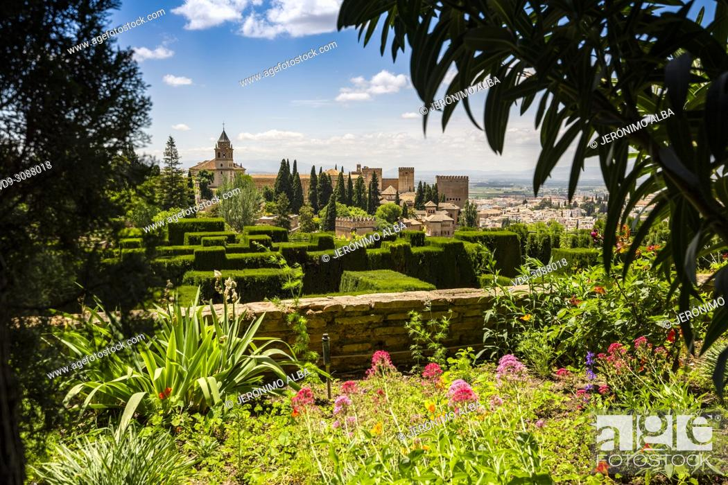 Stock Photo: Gardens and panoramic view. Alhambra, UNESCO World Heritage Site. Granada City. Andalusia, Southern Spain Europe.