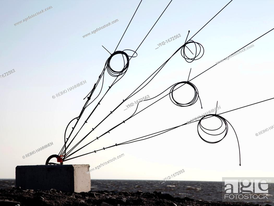 Stock Photo: Telecom mast's support cable anchoring point  Location Oulunsalo,Finland,Scandinavia,Europe.