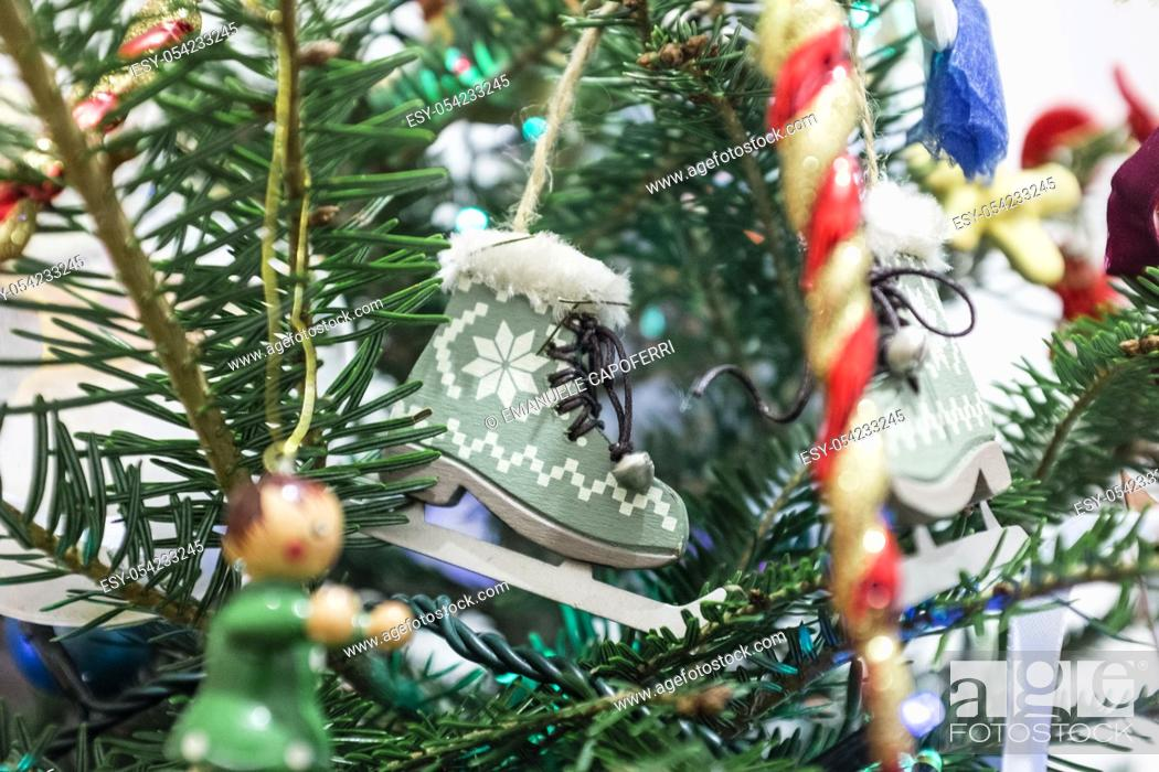 Stock Photo: Decorations on Christmas tree.