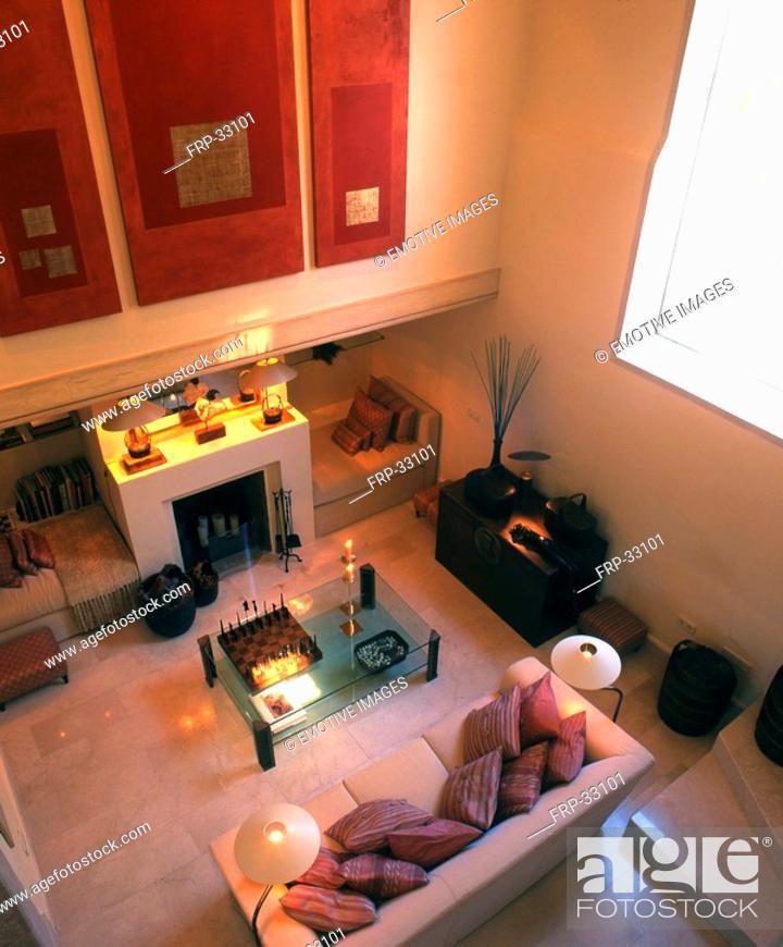 Stock Photo: Livingroom with fireplace.