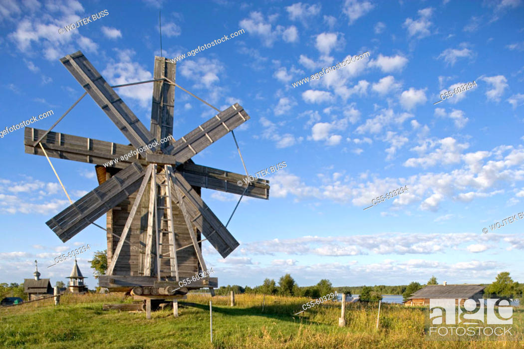 Stock Photo: Wind mill from the village of Volkostrov, 1928, village of Yamka, wind mill. Kizhi Island. Onega lake, Karelia. Russia.
