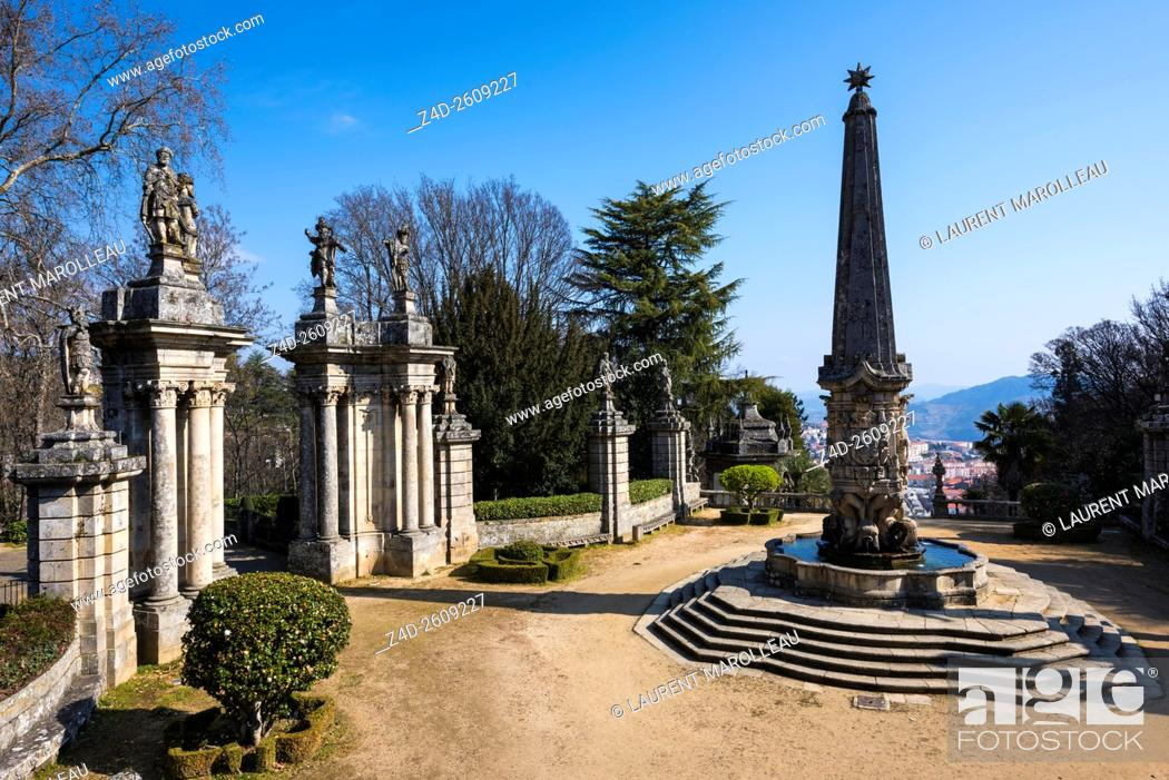 Stock Photo: Courtyard of the Kings with the Fountain of the Giants to Sanctuary of Our Lady of Remedies. Lamego, Viseu District, Norte Region, Portugal, Europe.