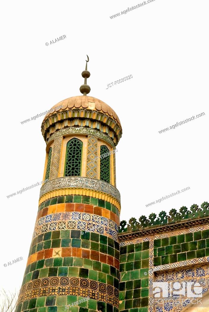 Stock Photo: China, Xinjiang, kashgar, grave of Abakh Hoja, architectural detail.