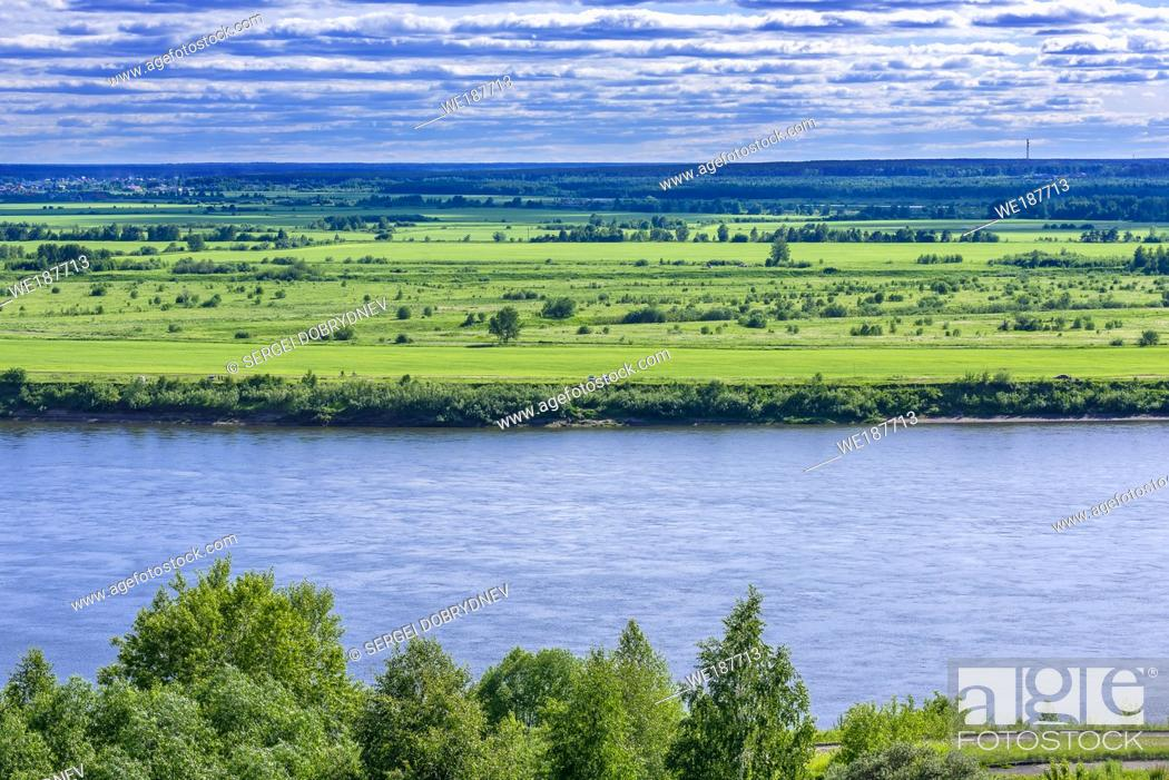 Stock Photo: Siberian river valley on a summer day.