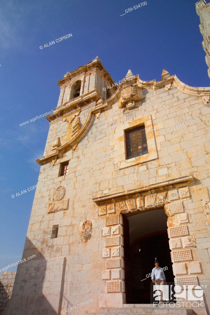 Stock Photo: Spain Valencia Region (La Comunidad Valenciana) Castellon Province Peniscola Old Town Nuestra Senora de Ermitana.