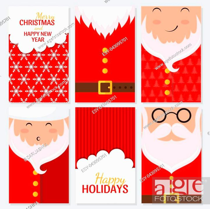vector merry christmas and happy new year greeting card set with cute santa claus designs stock vector vector and low budget royalty free image pic esy 043095701 agefotostock 2