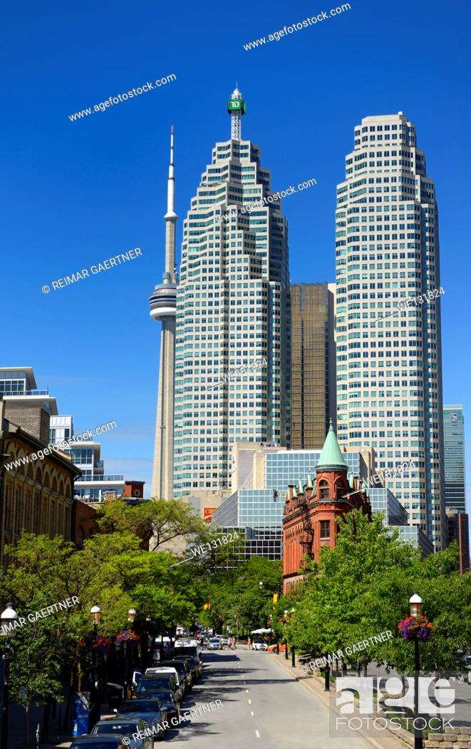 Stock Photo: Gooderham Flatiron building with financial district bank towers and CN tower Toronto.