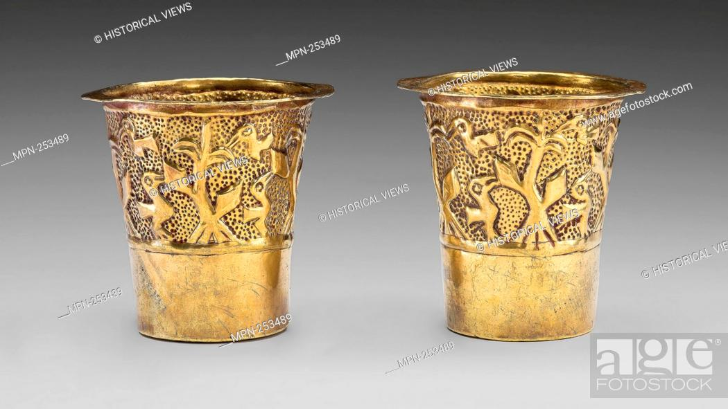 Stock Photo: Pair of Beakers Depicting Birds in a Cornfield - A.D. 1100/1438 - Inca Ica Valley, south coast, Peru - Artist: Inca, Origin: Ica Valley, Date: 1100–1438.